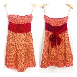 Free People Red/Orange Strapless Summer Dress 4